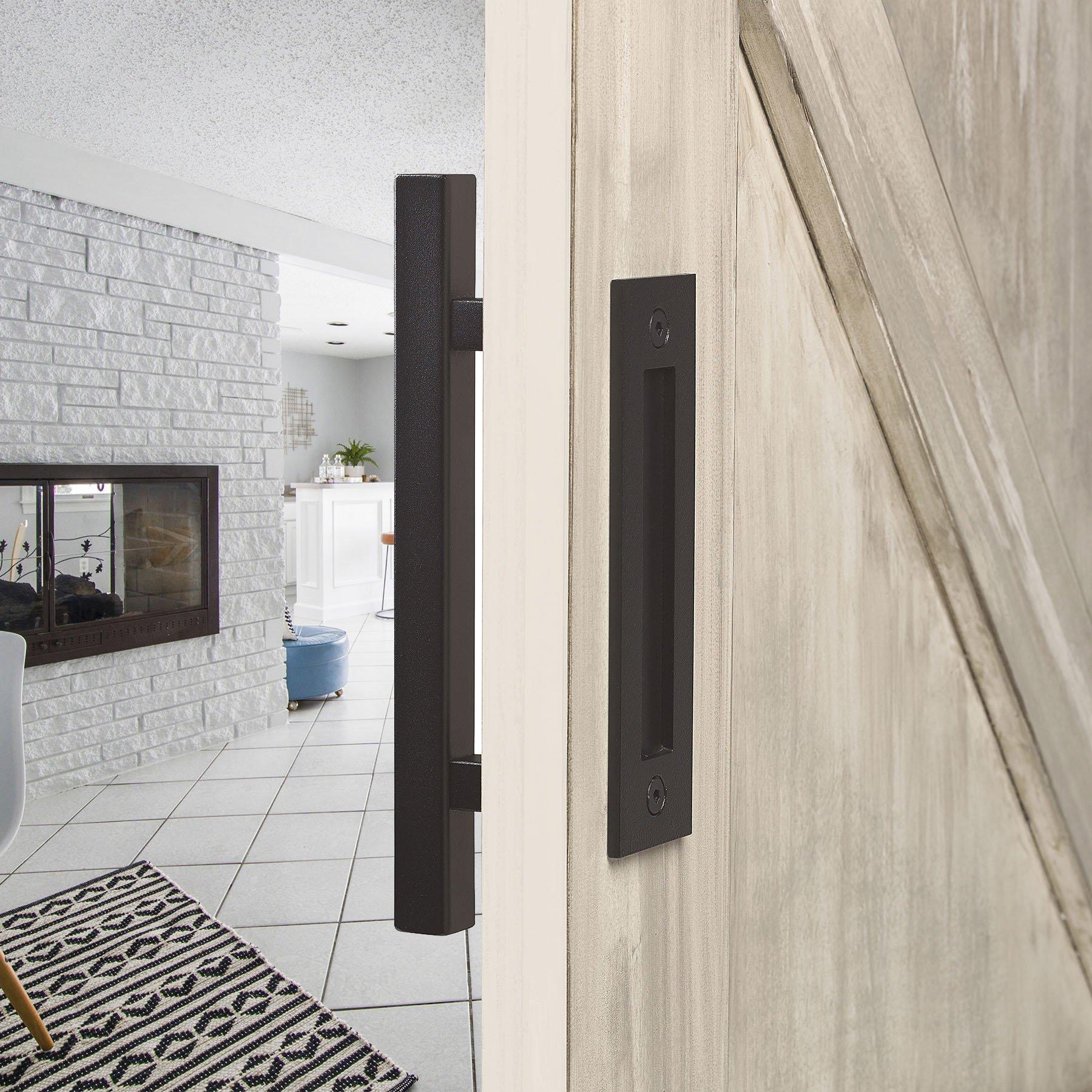 12 Square Barn Door Pull With Flush Plate Latch Matte Black In 2020 Barn Door Handles Hardware Barn Door Barn Door Handles