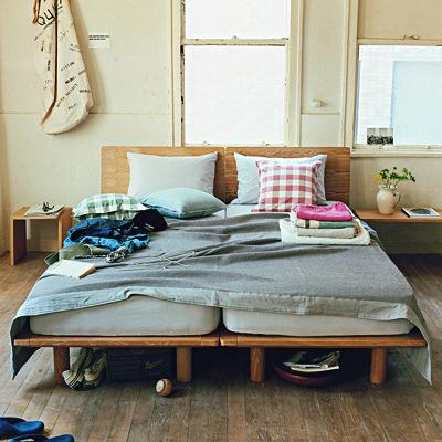 木製ベッドフレーム・スモール・タモ材/ナチュラル