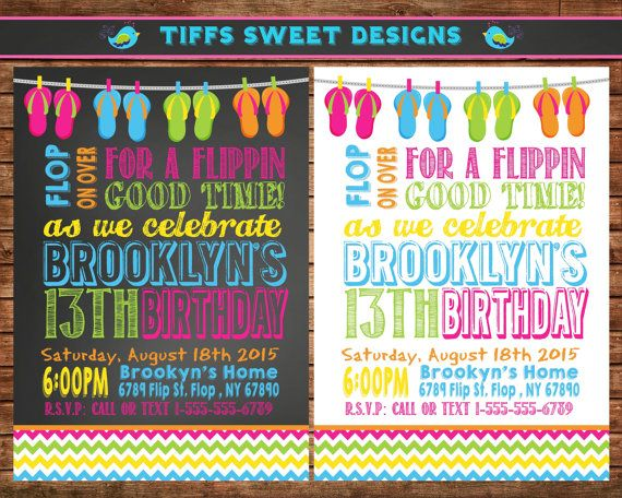 Flip Flop Invitation  Summer Birthday Party  by TiffsSweetDesigns, $10.50