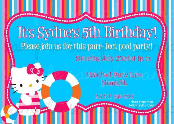Hello Kitty Pool Party Invitation by invitesxo on Etsy 1200