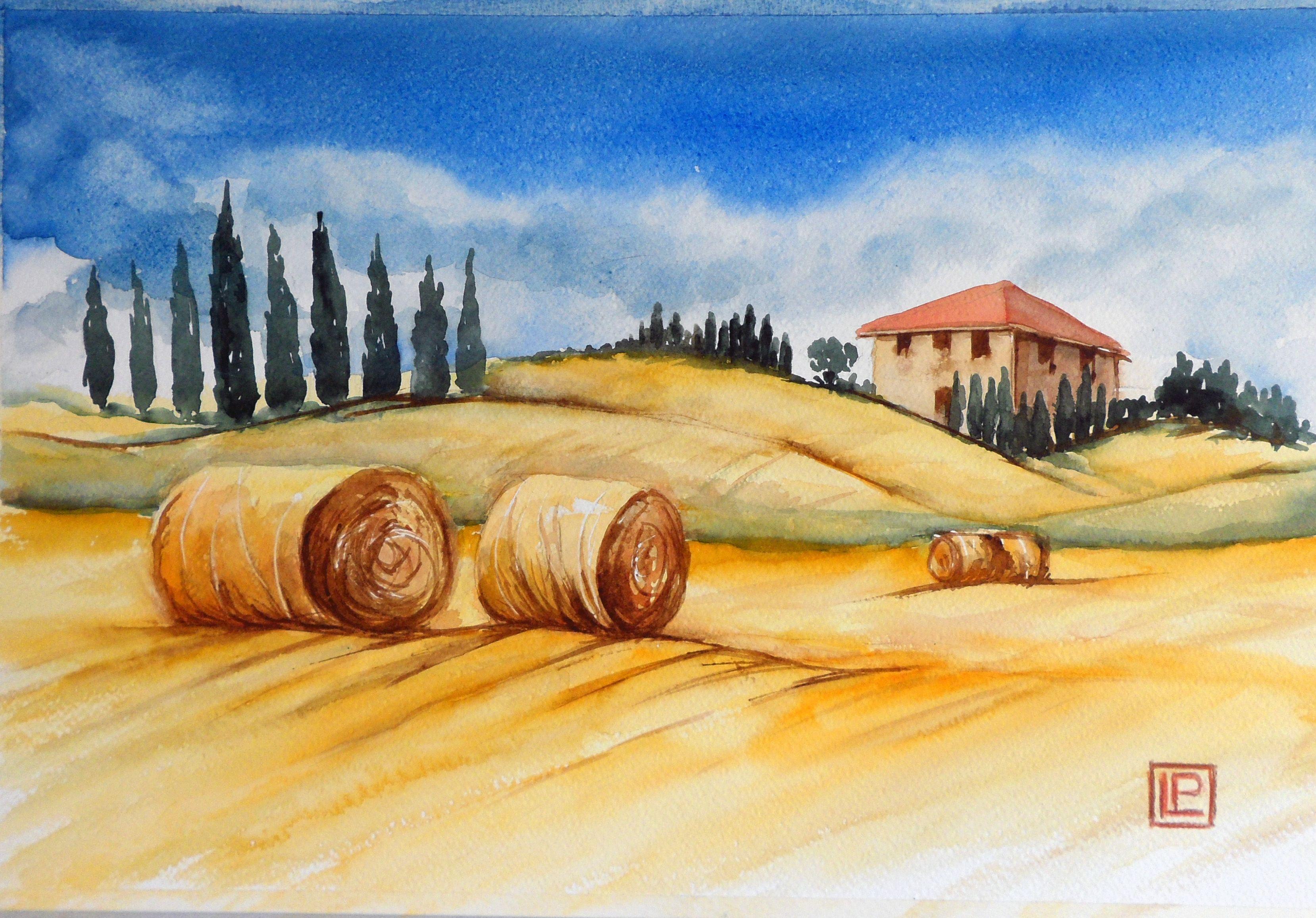 """ Campagna Toscana ""acquerello 30x45 di Lorenza Pasquali Paintings www.lorenzapasquali.it  Copyright © Lorenza Pasquali —"