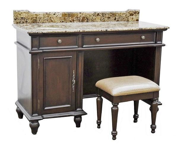 Bathroom Vanity Table bathroom vanity with makeup vanity attached | 55 serena single
