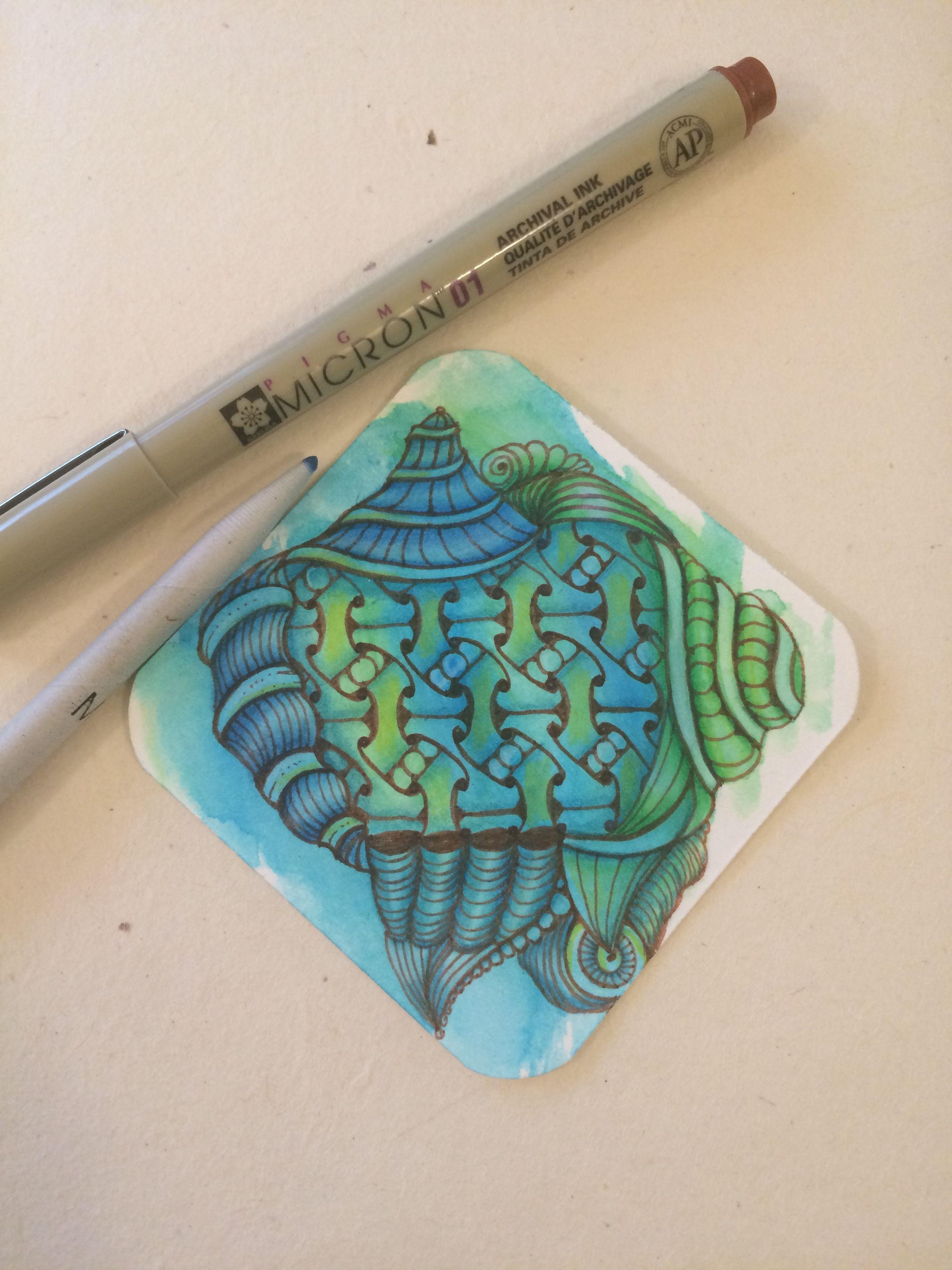 | Zentangle | Watercolour | Eni Oken | Meshmerize | I Teach Tangling |