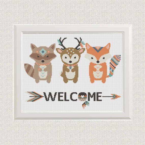 baby cross stitch pattern animals fox deer raccoon modern. Black Bedroom Furniture Sets. Home Design Ideas