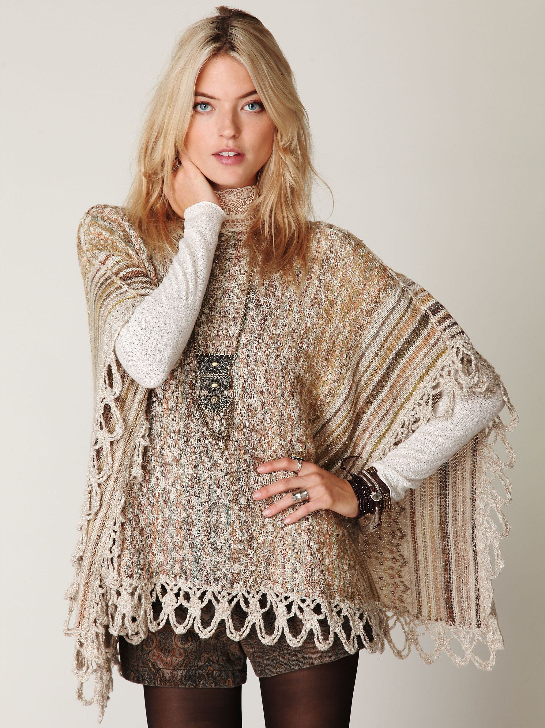 Free People Casablanca Shimmery Knit Poncho Cape Sweater, Style Stains
