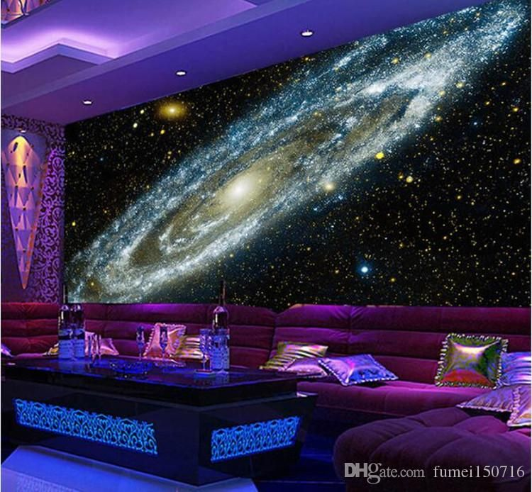 Custom Any Size 3d Wall Mural Wallpaper Galaxy Starry Nebula Ceiling Murals Living Room Sofa Bedroom Backdrop Wallpaper Painting From Fumei150716 21 36 Dhga Wall Painting Living Room Galaxy Room Ceiling Murals