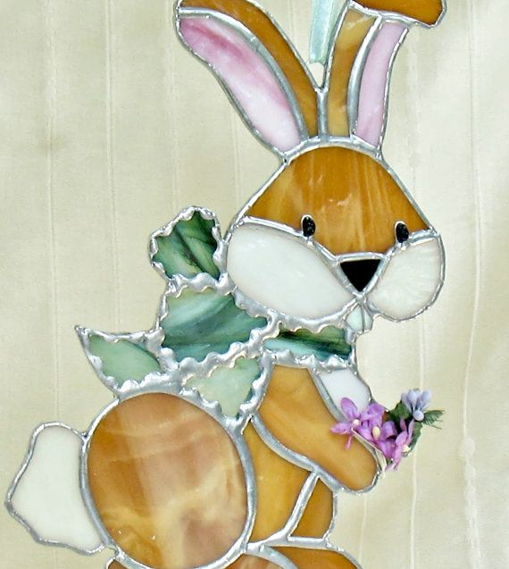 Stained Glass Bunny Rabbit Sun Catcher Window Decoration