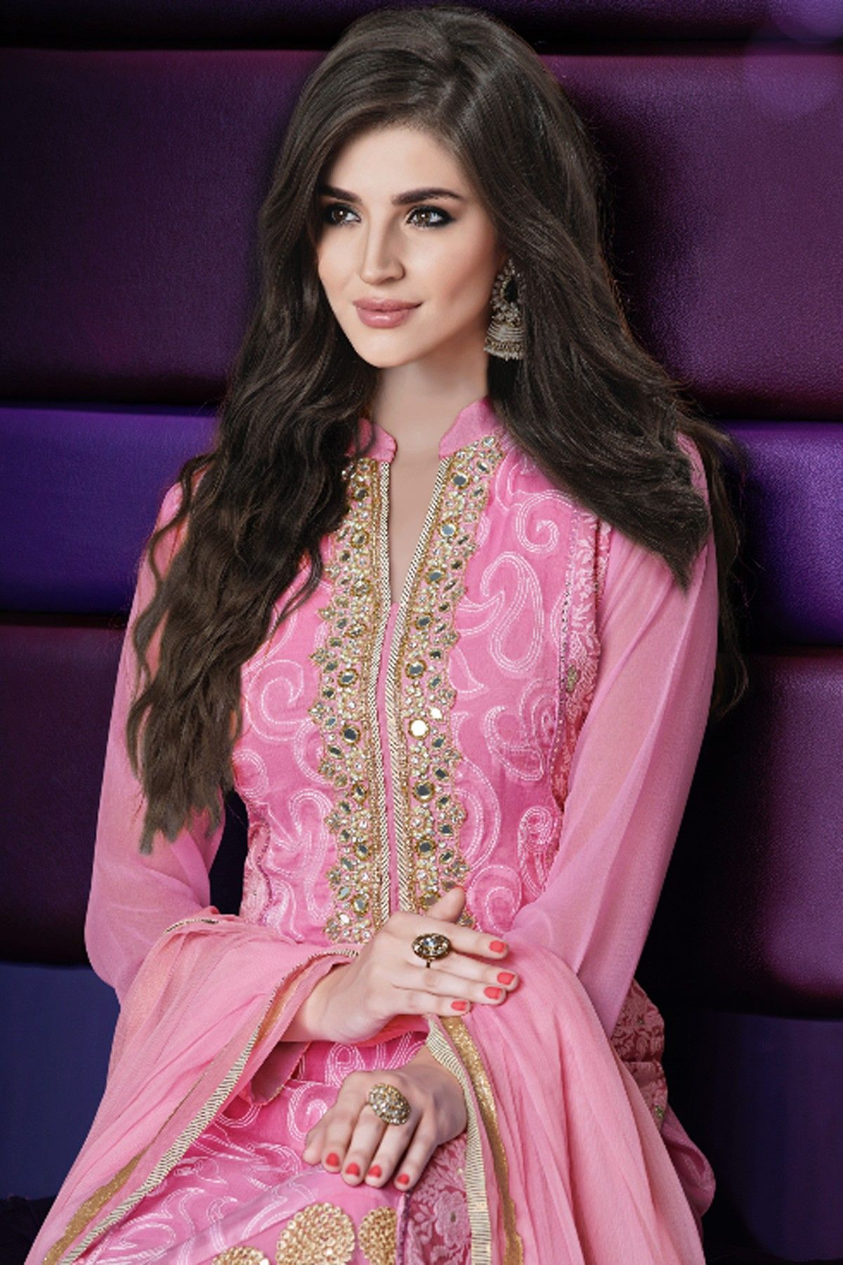 Light pink georgette embroidered Salwar kameez with Chinese collar design #beautiful #stunning #elegant #attractive