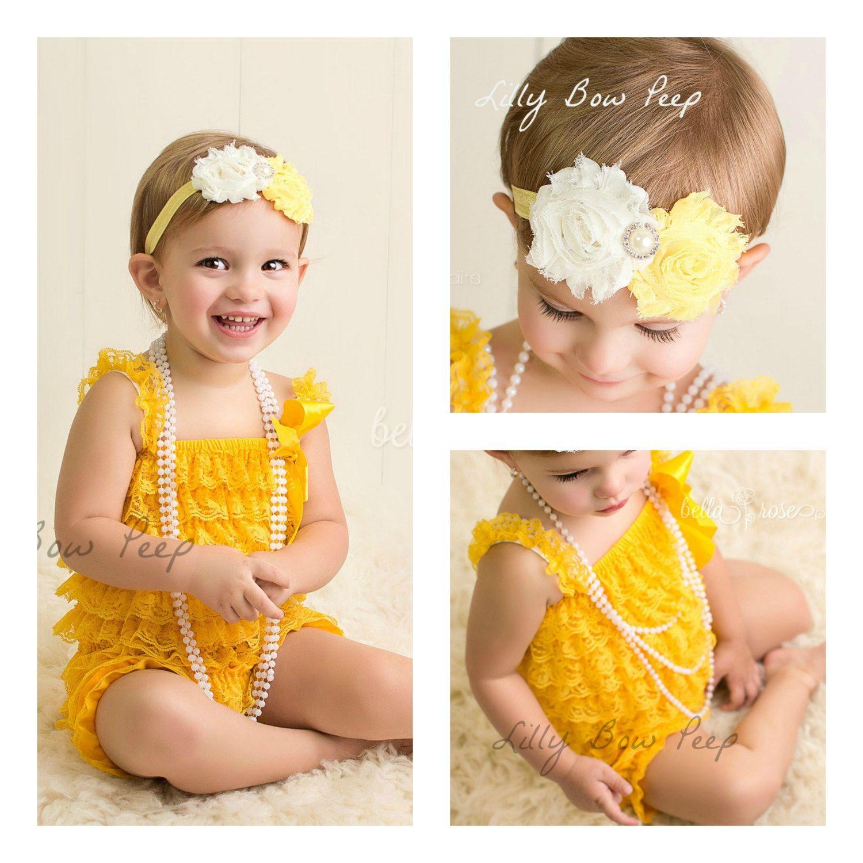 f53fe24d362f Baby Girl Clothes-Yellow Lace Petti Romper   Flower Headband-Newborn ...