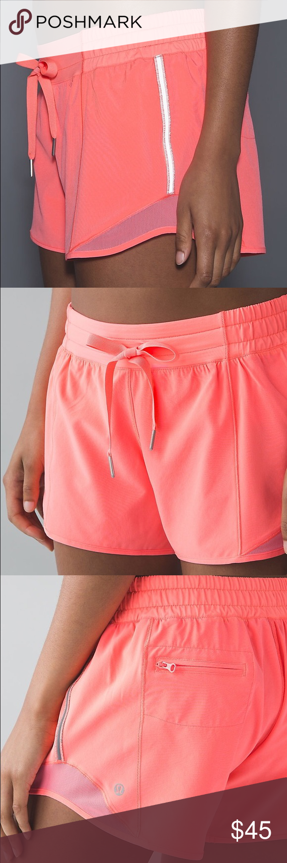 """✨🆕✨{lululemon} Hotty Hot Short* Long Color: grapefruit. Brand new with tags, never been worn. 4-way stretch, 4"""" inseam. Price is firm.   ❌ NO TRADES - SELLING ON POSH ONLY ❌ ❌ NO LOWBALLING ❌  ✅ Bundle Discounts ✅ Ship Next Day of Purchase  💯 % AUTHENTIC lululemon athletica Shorts"""