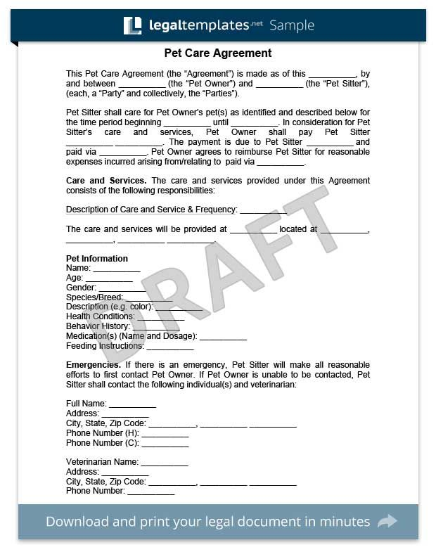 Pet Care Agreement  Create A Free Pet Care Agreement Form  Dog