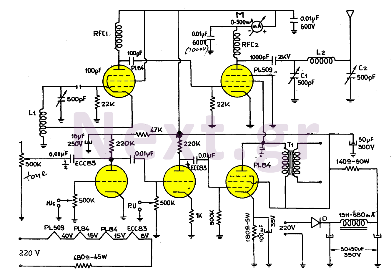 Simple Valve Mw Transmitter Circuit 30w Amplificadores Valvulas De Electronic Mosquito Repellent Diagram Using Ic 555