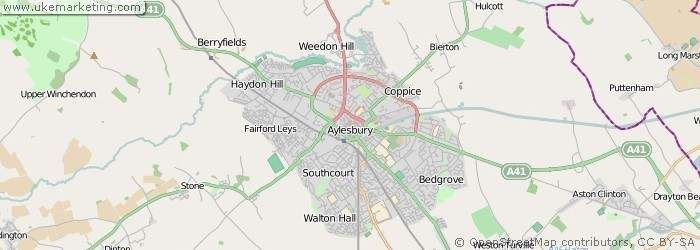 A detailed map of the town of Aylesbury in the UK UK Town and