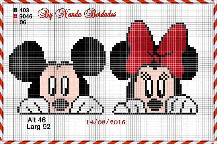 Minnie and Mickey Mouse x-stitch | yarn | Pinterest | Muster
