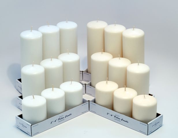 Assorted Pillar Candles Set Of 9 3 Each Height Choose White Or Ivory 32 50 Candles4less Com Bulk Candles Pillar Candles Buy Candles