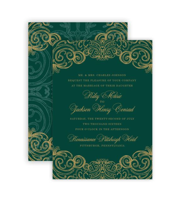 Regal Swirl Royal Emerald And Gold Wedding Invitation