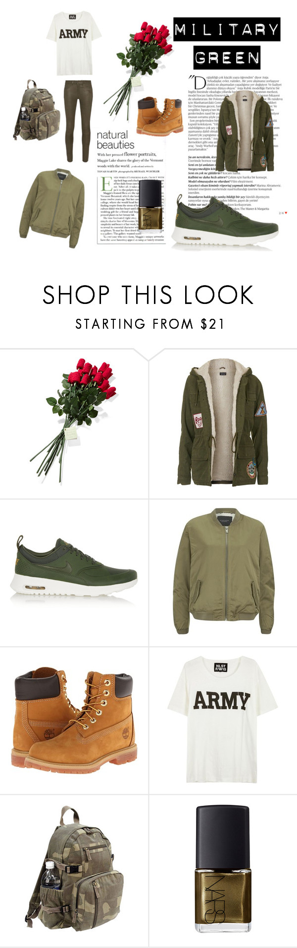 """""""made in war"""" by officalgracex ❤ liked on Polyvore featuring Balmain, Hanky Panky, Topshop, NIKE, Maison Scotch, Timberland, NLST, Rothco, NARS Cosmetics and rag & bone"""