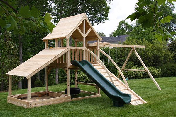 Cedar Swing Set With Arched Roof And Sandbox In Keswick
