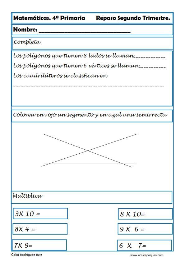 Fichas de Matemáticas Cuarto Primaria   4* Primaria   Ejercicios ...
