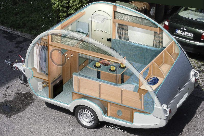 Walk In Teardrop Trailer Trejler Iznutri Interer Furgona