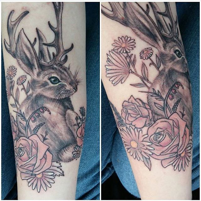 ✨Cute little jackalope done at the  @calgarytattooshow this weekend. Thanks for being so great @theunrootedtree #repost #jackalope #cutetattoos
