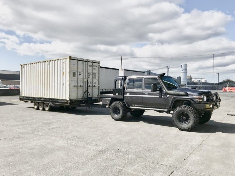 Loading Transport And Placement Of Standard Empty 10 And 20 Foot Containers Based In Auckland Will Go As Far D Custom Truck Beds Work Trailer Custom Trailers