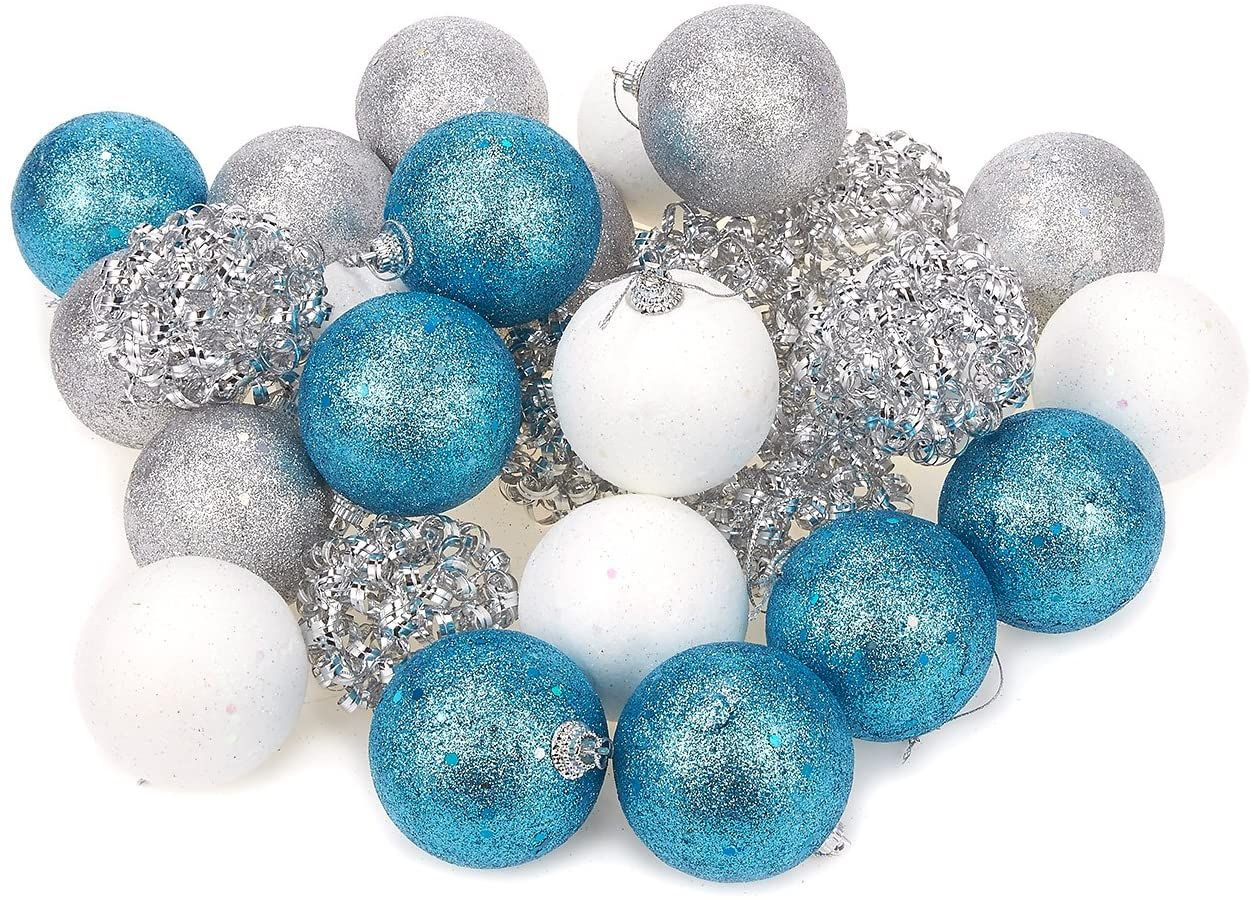 Juvale 28 Pack Christmas Tree Decorations Glittery Xmas Ball Ornaments In 4 Assorte Christmas Hanging Decorations Sparkly Ornament Christmas Tree Decorations