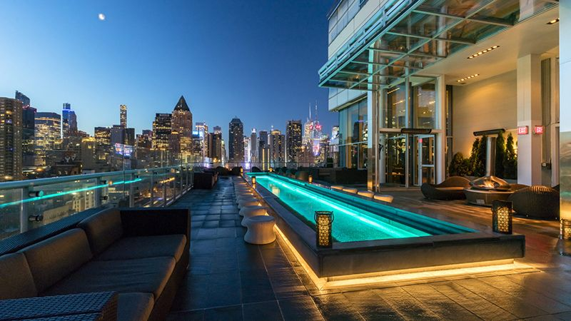 Our First Pick Is The Press Lounge Located At The Top On The Ink48 Hotel It S One Of Manhattan S Most Elegant Nyc Rooftop Rooftop Bars Nyc Best Rooftop Bars