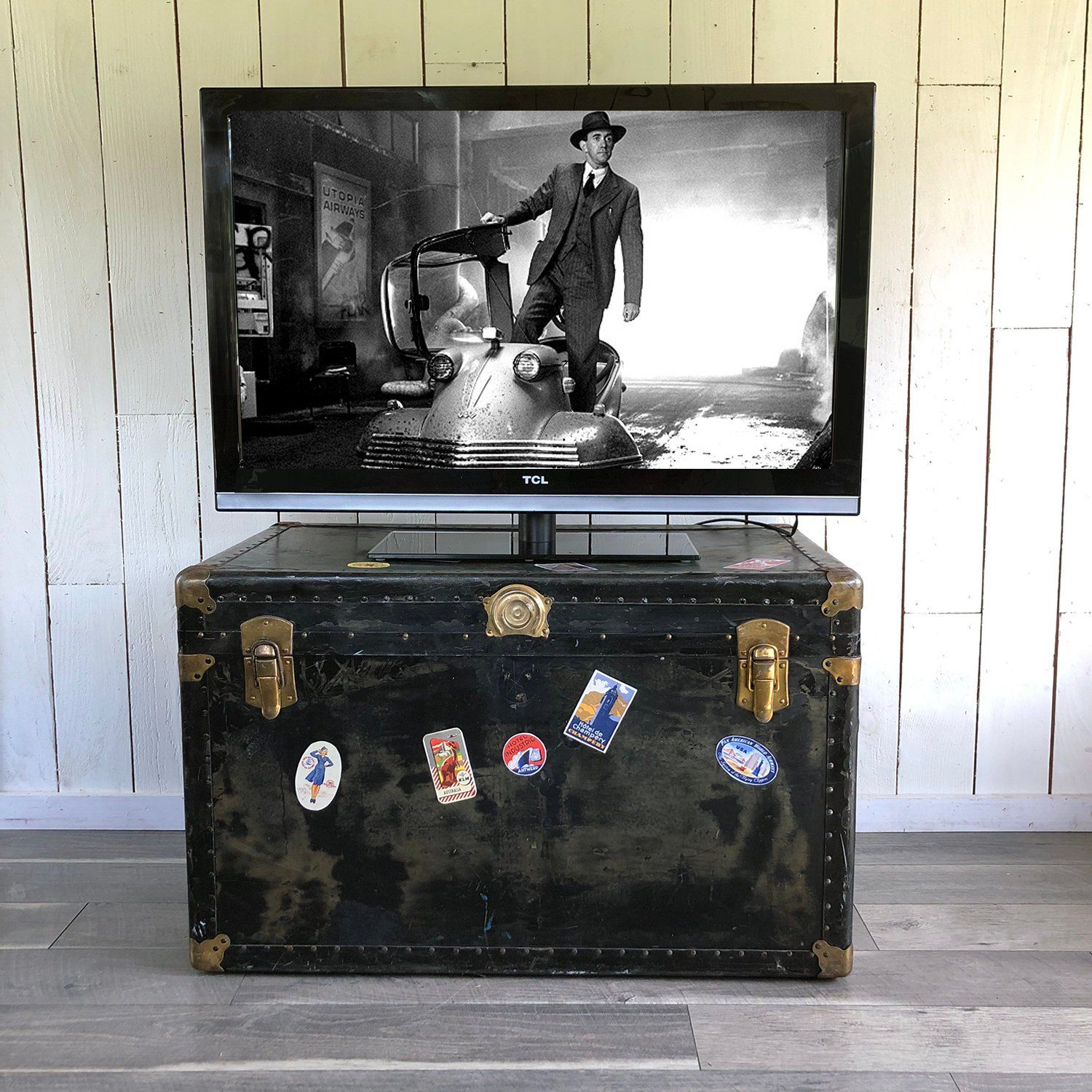 Large 1940s 1950s Steamer Trunk Storage Trunk Trunk Side Steamer Trunk Storage Trunk Trunk Side Table