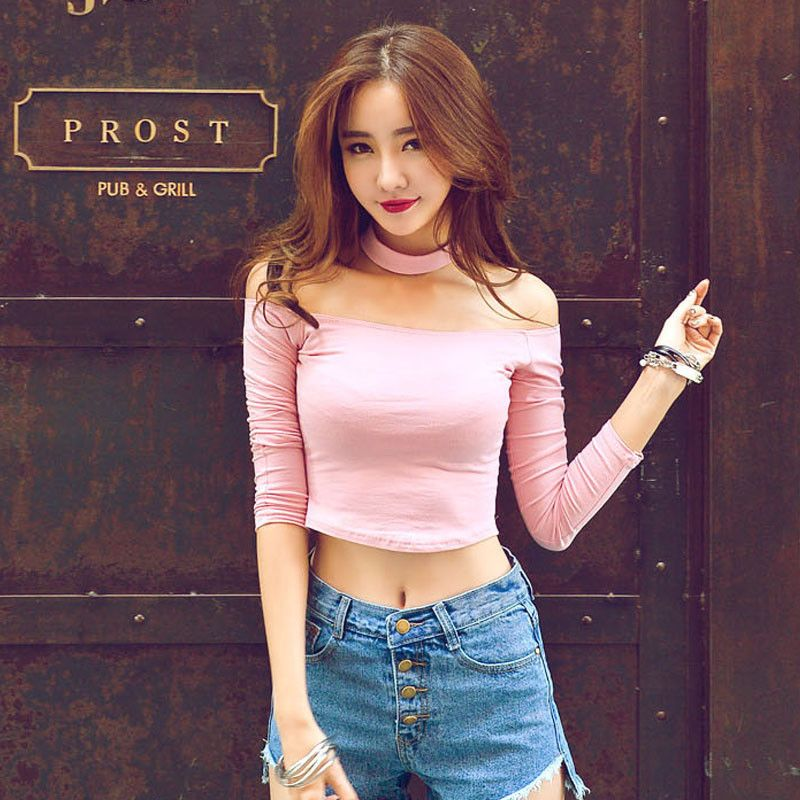 23c824f85f24c Collared Shoulderless Cute Long Sleeve Top SD00735