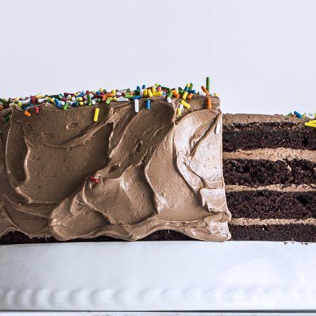 Four-Layer Chocolate Birthday Cake with Milk Chocolate Ganache and Nutella Buttercream Recipe