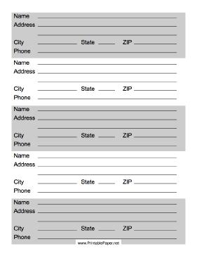 This Printable Address List Has From For Contact Information Including Phone Numbers Up To Five Friends Or Business