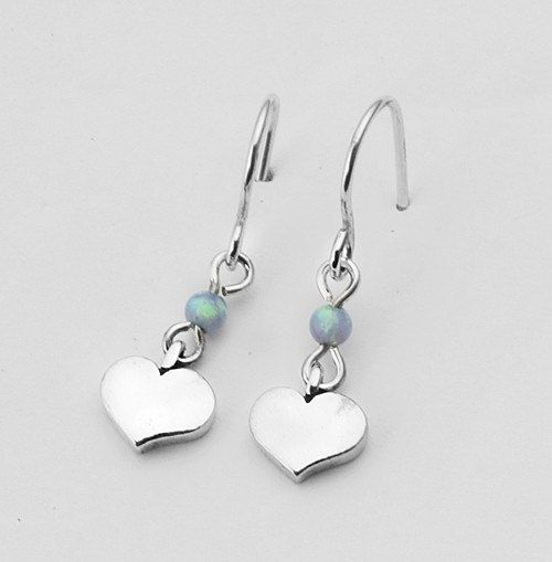 Silver Earrings Dangle With 4mm Round Beads Stone Blue Opal Shape