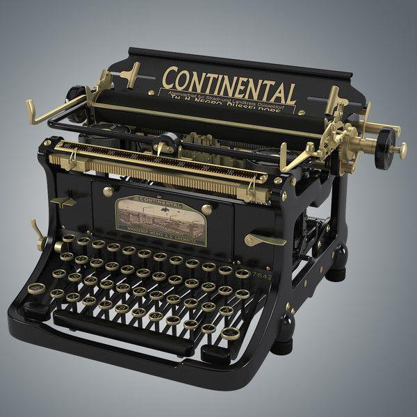 continental vintage typewriter 3d model continental. Black Bedroom Furniture Sets. Home Design Ideas