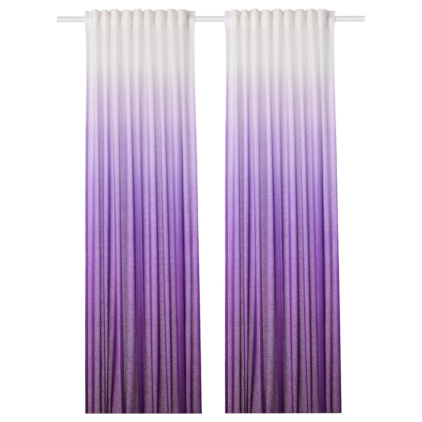 Ikea Strandtrift Curtains 1 Pair Lilac White Curtains With