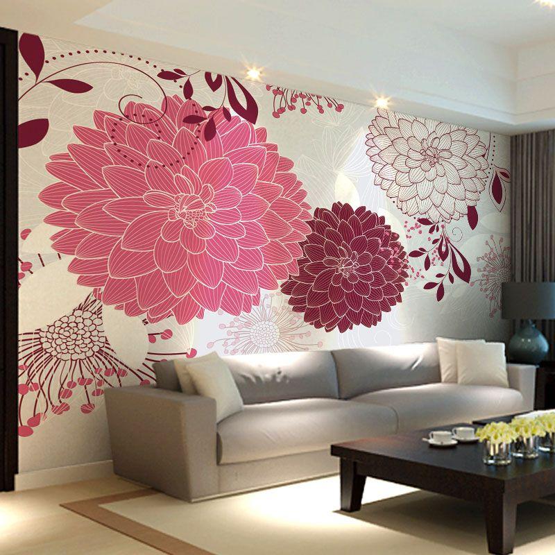papel de parede pintura mural sofá romântico papel de parede tv US ...