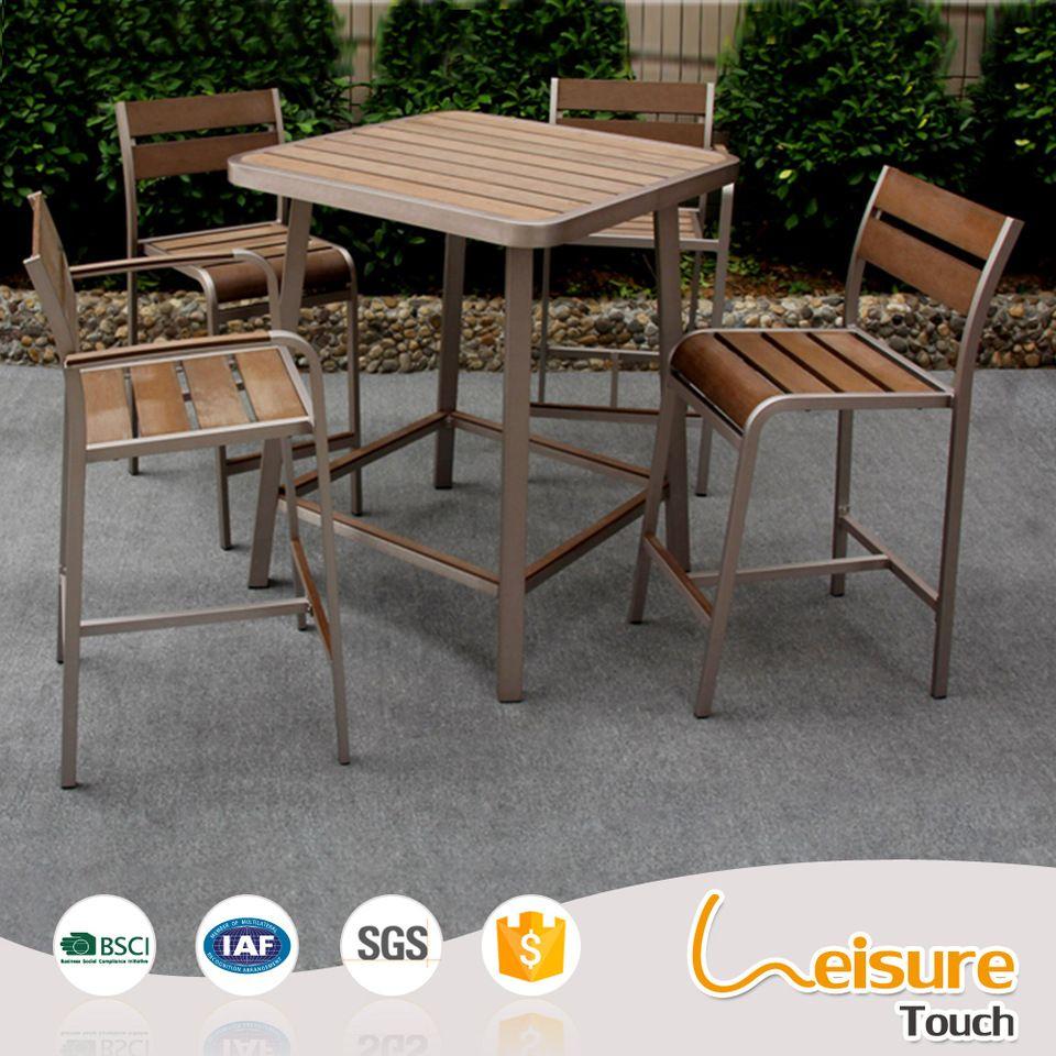 Terrace leisure furniture wholesale plastic wood aluminum bar chair table set