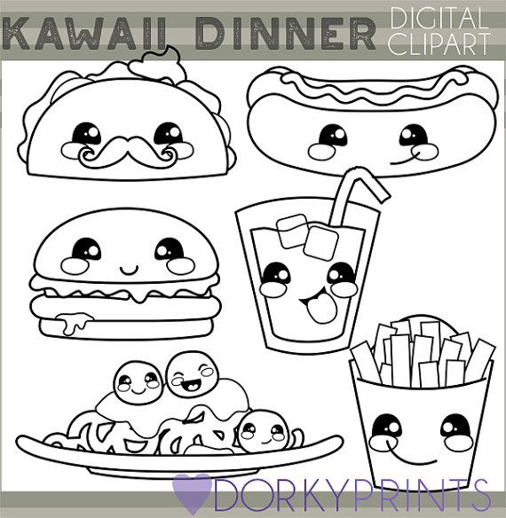 Kawaii Food Clipart Personal And Limited Commercial Use Cute Etsy Clip Art Kawaii Food Cute Coloring Pages