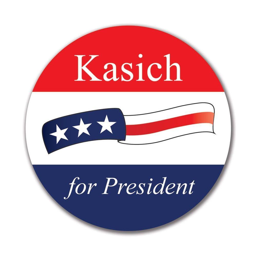 Election 2016 John Kasich Waving Flag 4x4 Round Sticker