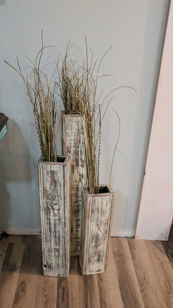Set Of 3 24 Tall Rustic Floor Vases Wooden Vases Home Decor
