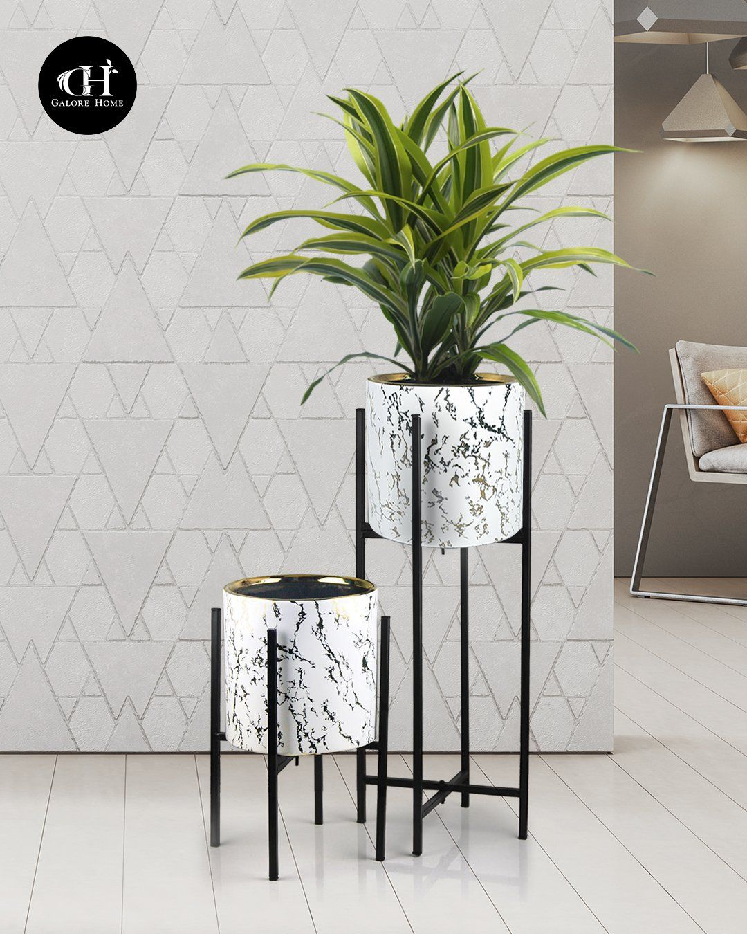Marble Planter With Metal Stand Vases Decor Floor Standing Vase Marble Decor