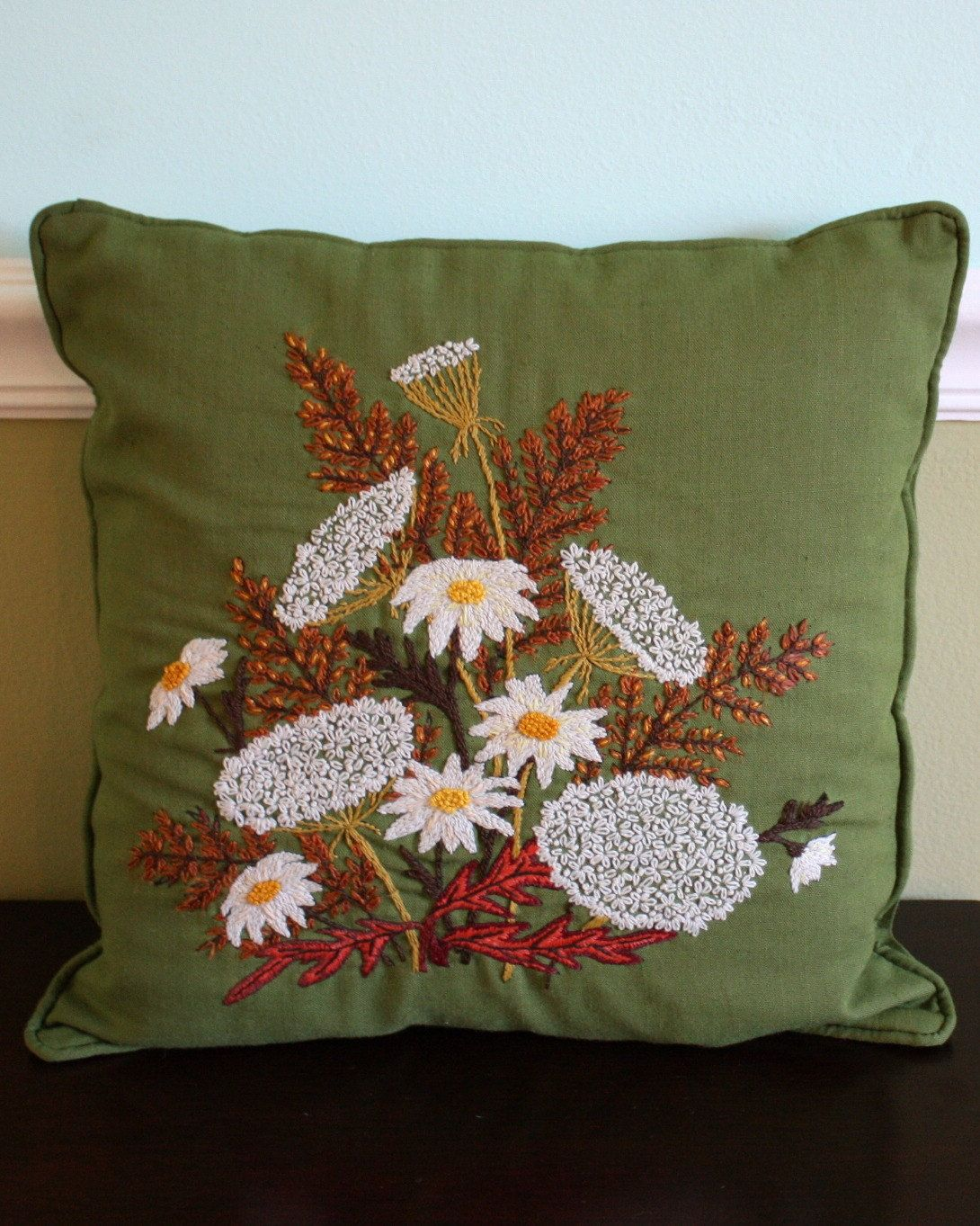 Vintage Olive Daisy Pillow