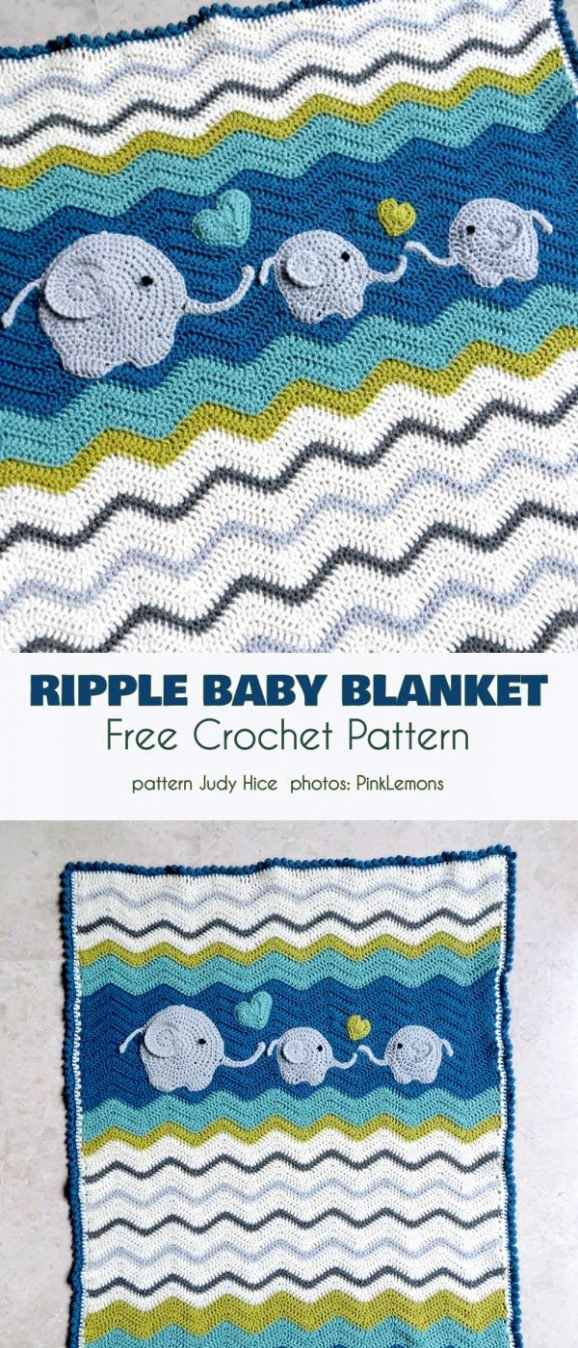 Colorful Ripple Blanket Free Crochet Patterns