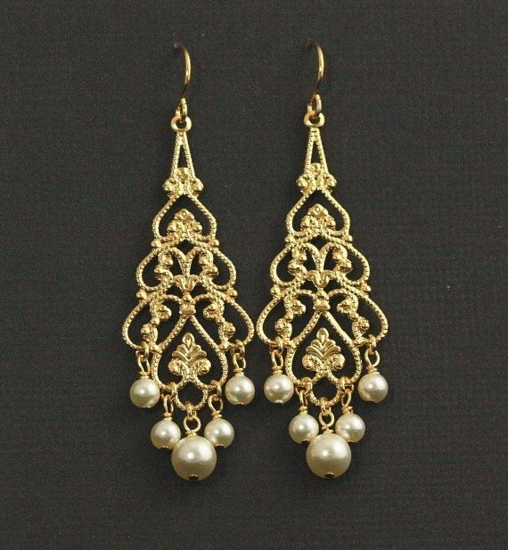 Ohh these would be really nice with my dress bling items similar to gold pearl chandelier earrings pearl bridal earrings gold filigree wedding earrings swarovski cream pearl chandeliers princessa on aloadofball Images