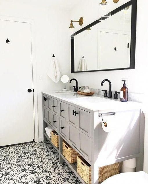 Photo of 12 Bathrooms With Gray Cabinets That Will Melt Your Stress Away | Hunker