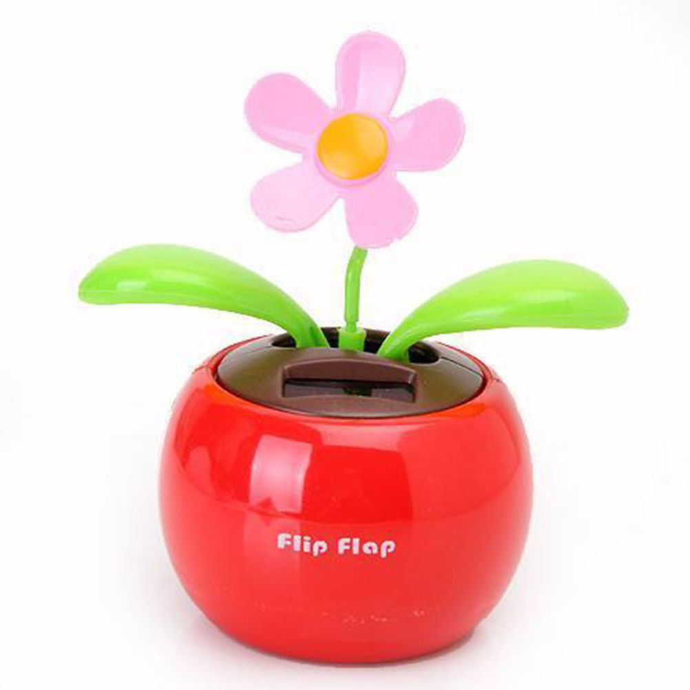 6c1fde8fb7112 Flip Flap Solar Powered Flower Flowerpot Auto Car Dashboard Swing Dancing  Toy QW