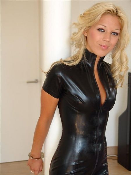 Busty blonde in pvc fucks 4