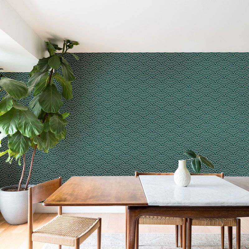 Holli Zollinger Mosaic Scallop Marine Matte Peel And Stick Wallpaper Panel In 2020 Wallpaper Panels Peel And Stick Wallpaper Green Wallpaper