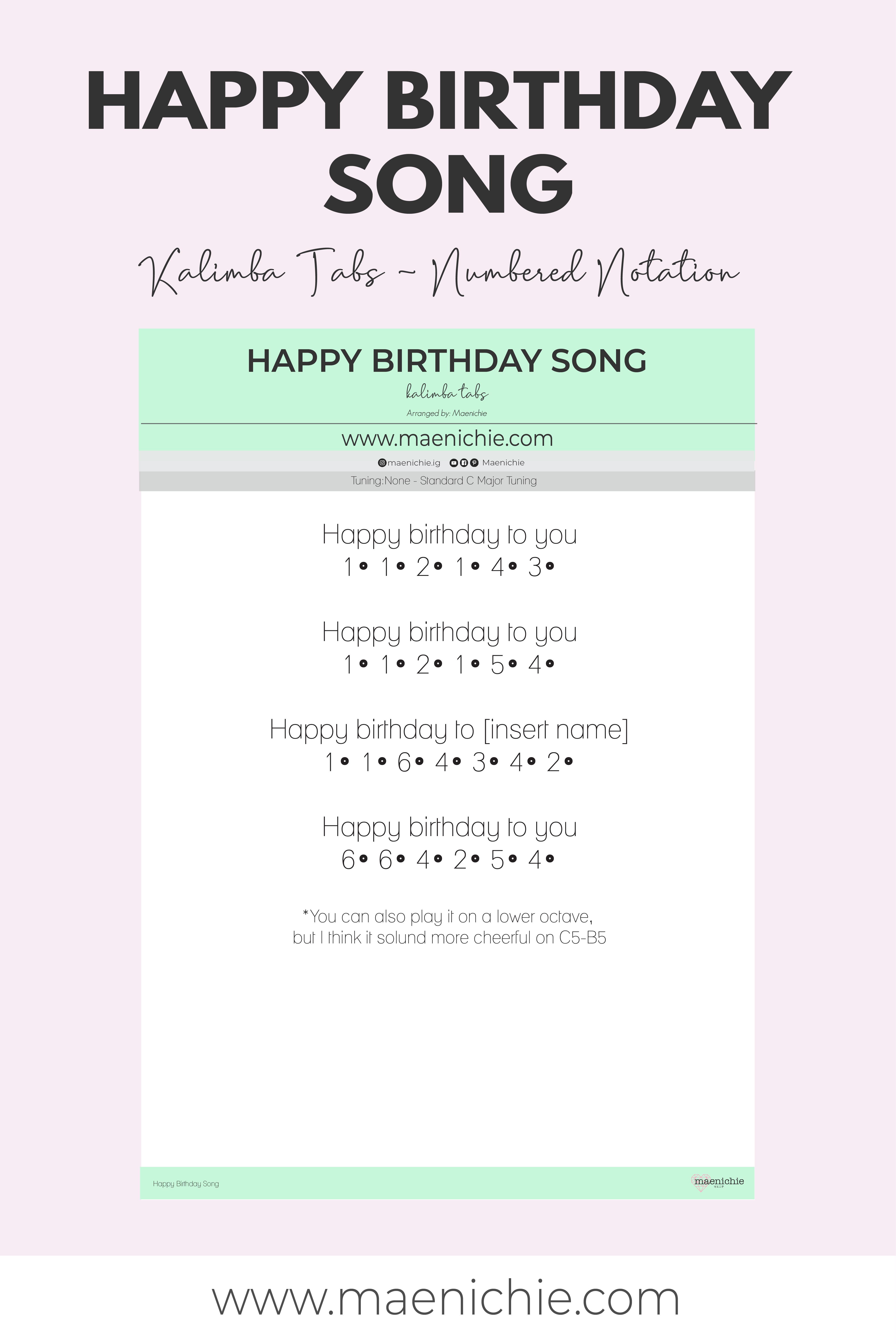Easy 17 Key Kalimba Tabs Happy Birthday Song Numbered Notation Song Notes Piano Notes Songs Piano Songs Chords