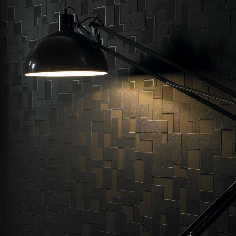 papier peint noir 40 id es pour un design mural. Black Bedroom Furniture Sets. Home Design Ideas